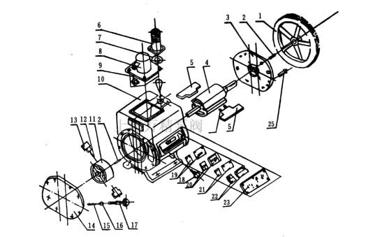 2X旋片式真空泵的結構圖